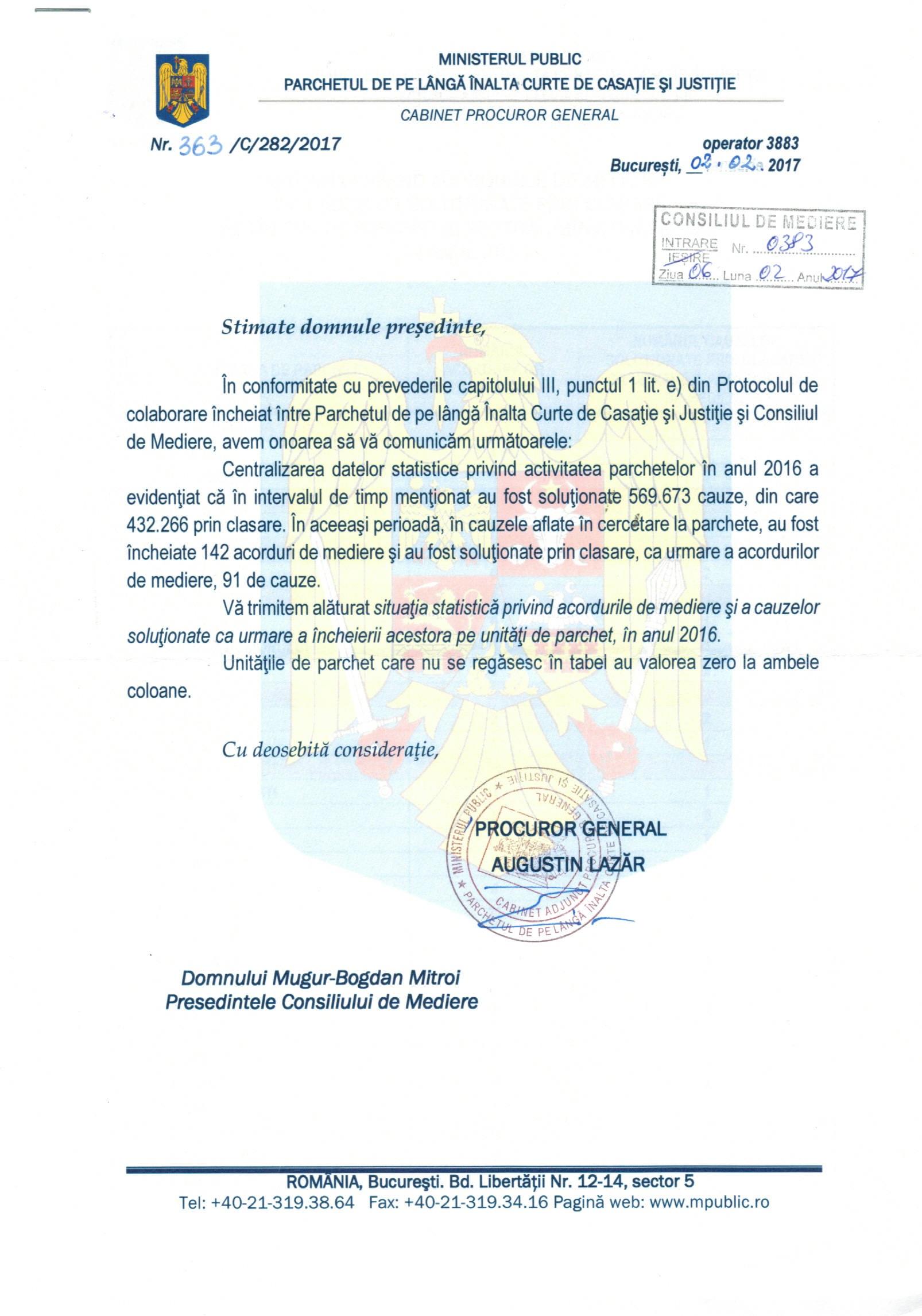 Date oficiale de la Parchetul General privind acordurile de mediere penala depuse la Parchete in 2016