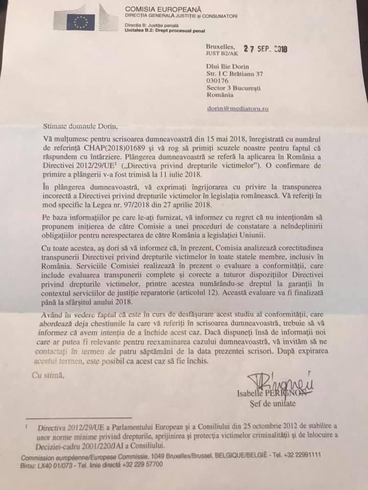 Comisia Europeană analizează implementarea Directivei 29/2012/UE privind medierea penală